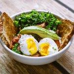 Poached Eggs over Kale Salad (Brunch)
