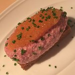 Smoked reindeer and white fish roe on black eye bread. Really tasty!