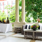 The veranda at Hotel Ella in Austin, Texas can be reserved for a private party.