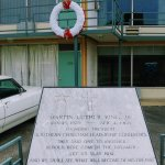 Just to the right of the wreath is where Dr. King was shot.