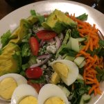 Cobb salad with extra aggs and avocado to make it vegetarian.