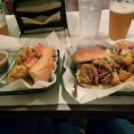 Po'Boy catfish sandwich and pulled pork sandwich