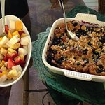 breakfast - blueberry & macadamia bread pudding, fresh fruit