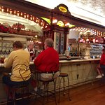 The old time ice cream parlor counter.