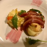 Chicken with pancetta, mozzarella and dauphinois potatoes