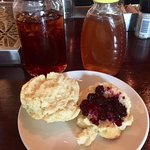 good biscuit an blueberry jam with your order