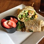 Chipotle mango salsa grilled chicken wrap with fruit