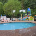Waterpark outdoor pool and smaller slide play area