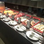 Hot dishes at buffet breakfast