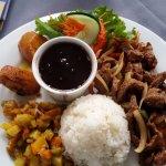 Beef casado with salad, rice, plantains and sauteed veggies