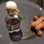 Churros con pure de calabaza y helado de canela