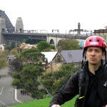 Our guide Oscar, we are at Observatory, Harbour Bridge in background.