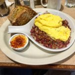 corned beef hash and scrambled eggs with rye toast