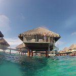 Over water bungalow from the lagoon.