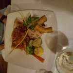 Snapper with bacon wrapped shrimp and stuffed grouper