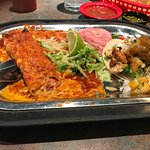 Cheese & onion enchilada, and a chicken street taco with pineapple