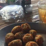 Hemingway with fried olives stuffed with blue cheese
