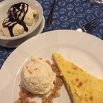 Desserts - ice cream and lemon tart