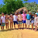 Family & crew at Karbuni Restaurant on Pinel Island