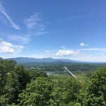 View of the Rip Van Winkle bridge and the Northern Catskills from Olana