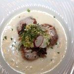 COLMAR. Restaurant 'Aux Trois Poissons'. Cassolette de Saint Jacques et émulsion à la Noisette.