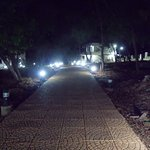 The lighted pathway to walk around in the evening