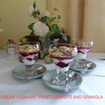 Knickbocker Glory: Greek Yoghurt, Fruit Compote & Granola, one of 10 choices for Breakfast.