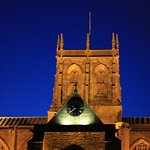Sherborne Abbey at night