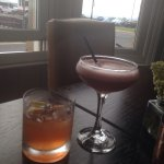 Beautiful cocktails looking out over the bay. Crown Bourbon a beautiful firey flavour and a tast