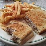 Patty melt sandwich with fries