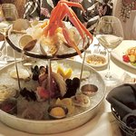Shellfish Tower & Salmon entrée (adj. photo)