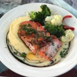 Grilled salmon with veggies and mashed potatoes
