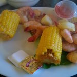 Low country boil as laid in front of me. A few chunks of potato and no sausage.