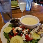 Key lime mimosa, soup of the day ( clam chowder)& strawberry spinach salad special.