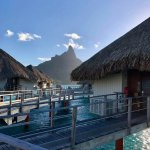 Wonderful views of Bora Bora's Mount Otemanu from our overwater bungalows.