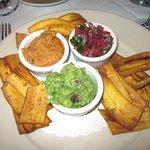 Trio of Spreads: Roasted Pepper Hummus, Guacamole, & Pico de Gallo with Plantain Chips