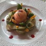 Russian salad and mango and mint gazpacho amuse bouche