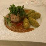 Filet de sébaste, sauce vierge au Chorizo, Gnocchis d'herbes fraîches