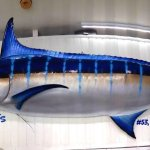 Antigua's current Tournament record for a Blue Marlin, 771.25lbs on display inside the store.