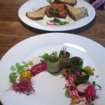 Starters for 2! Zucchini rolls and carrot terrine