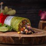 tronco burrito de res con tortilla de espinaca