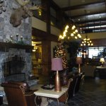 Seating in the lobby to relax in front of the fireplace and have hot coco or a glass of wine