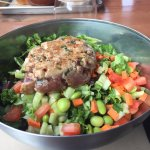 Wow what a wonderful find!  Tuna burger MR on a chopped salad with Asian vinaigrette   I'm going