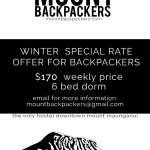 Special promotion winter rate price for backpackers only