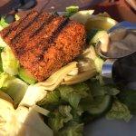 "Blackened salmon on ""make your own"" salad"
