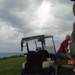 at the entrance: God of Life statue hanging out ocean side on the 18th hole at Varadero Golf Clu