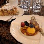 desserts, apple strudel and trio of petit fours