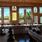 Dining room in main lodge. Set up for wedding reception.