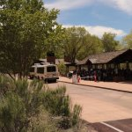 Zion Shuttle - pulling into one of the park stops