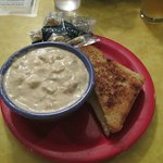 Clam Chowder and grilled cheese sandwich